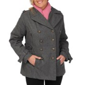 EXCELLED Plus Size Double-Breasted Wool-Blend Peac