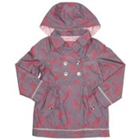 LONDON FOG Girls Bow Print Double Breasted Hooded