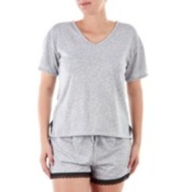 NICOLE MILLER Ribbed Hacci Pajama Set with Lace Tr
