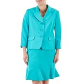 Petite Three-Button Solid Skirt Suit