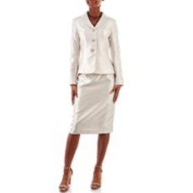 LE SUIT Textured Jeweled Button Jacket & Skirt Sui