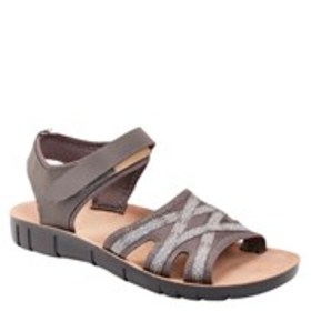Womens Wide Width Fabric Cutout Wedge Sandals