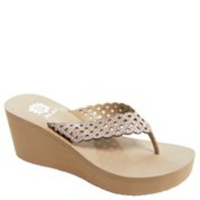 YELLOW BOX Womens Crystal Perforated Leather Wedge