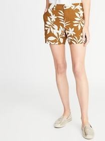 Mid-Rise Printed Linen-Blend Everyday Shorts for W