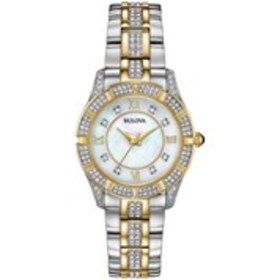 BULOVA Bulova Womens Two-Tone Crystal Mother of Pe