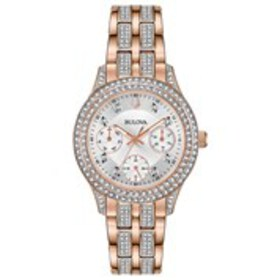 BULOVA Bulova Womens Rose Gold Crystal Chronograph