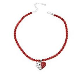 Jay King Red Coral Sterling Silver Heart Pendant w