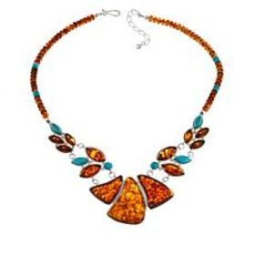 Jay King Campitos Turquoise and Amber Pendant Neck