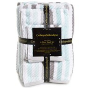 CATHERINE MALANDRINO 100% Cotton Stripe Bath Towel