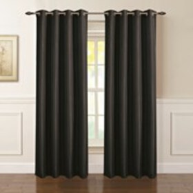 """Set of 2 Pleated Texture Faux Linen Curtains - 54"""""""