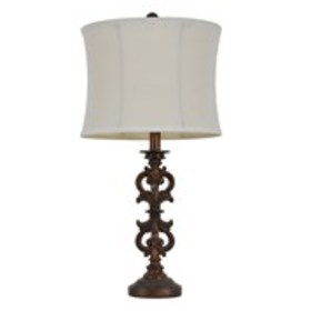 """JIMCO 25"""" Carved Wood-Tone Table Lamp with Shade"""