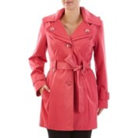 LONDON FOG Shining Button Hooded Trench Coat with