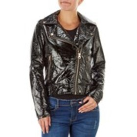 JESSICA SIMPSON Glossy Black Faux Leather Jacket w