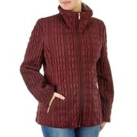 ANNE KLEIN Quilted Jacket with Ruched Accents