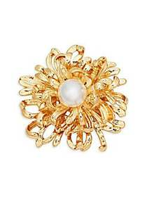 Kenneth Jay Lane Faux Pearl Flower Pin NO COLOR