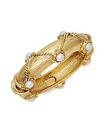 Kenneth Jay Lane Faux Pearl Bangle Bracelet NO COL