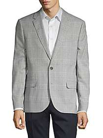 Karl Lagerfeld Plaid Notched Sportcoat GREY