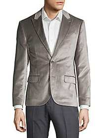 Karl Lagerfeld Slim Fit Velvet Dinner Jacket GREY