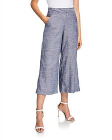 Max Studio Wide-Leg Cropped Pull-On Pants