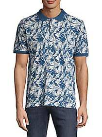 Heritage Report Collection Printed Cotton Polo BLU