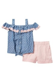 Nicole Miller Dot Ruffle Lace Top & Shorts Set (Li