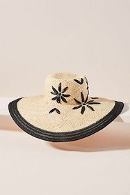 Anthropologie Il Cappellaio Floral-Embroidered Sun