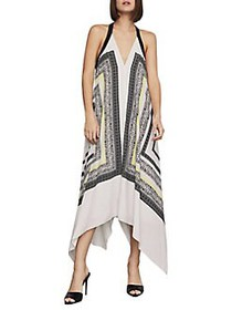 BCBGMAXAZRIA Printed Halter Shift Dress BLACK MULT