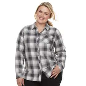 Plus Size SONOMA Goods for Life™ High-Low Plaid Sh