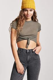 Forever21 Ribbed Tie-Front Tee