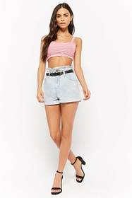 Forever21 Striped Cutout Crop Top