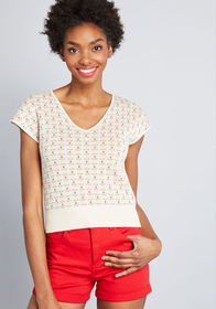 ModCloth ModCloth In the Details Short Sleeve Swea
