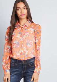 ModCloth ModCloth Be Buzzworthy Button-Up Top Oran