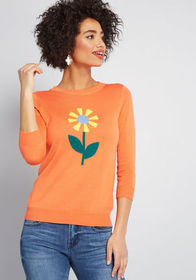 ModCloth Charm School 3/4 Sleeve Pullover in Coral