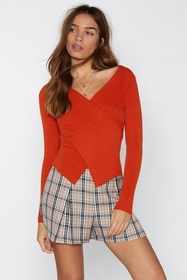 Nasty Gal Womens Rust The Latest Wrap Knit Top
