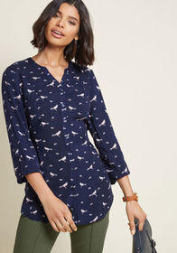 ModCloth ModCloth Trusty Travel Button-Up Top in N