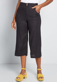 ModCloth ModCloth All In Cropped Wide-Leg Pants Bl