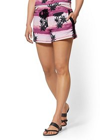 Pink Palm Tree-Print 4 Inch Short - Soho Street -