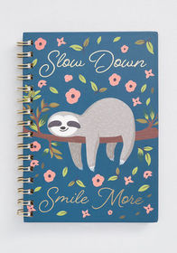 Slow Down Smile More Sloth Notebook Multi