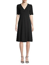 Weekend Max Mara V-Neck Fit-&-Flare Dress BLACK