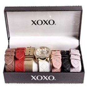 XOXO Womens Crystal Bezel Watch & Band 7-Piece Set