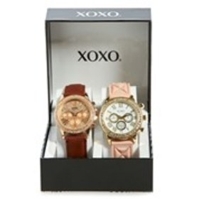 XOXO Womens Crystal Faux Leather & Silicone Watch