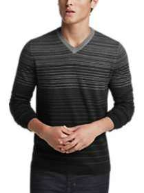 Calvin Klein Black and Gray Stripe V-Neck Sweater