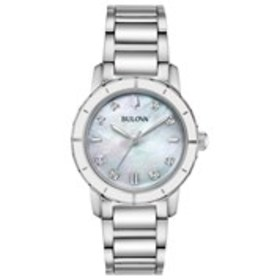 BULOVA Bulova Womens Diamond Accent White Mother o