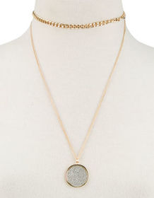 FULL TILT Chain Glitter Pendant Layer Necklace_