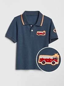 Toddler Embroidered Patch Polo T-Shirt