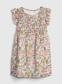 Toddler Floral Pleated Ruffle Dress