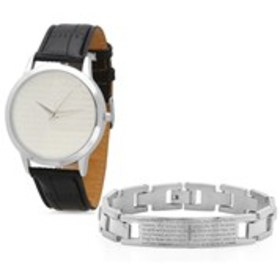 STEEL TIME Mens White Gold Lord's Prayer Watch & B