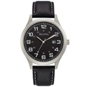 BULOVA Bulova Mens Black Dial Silver Leather Watch