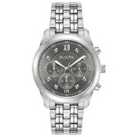 BULOVA Bulova Mens Diamond Grey Dial Chronograph D