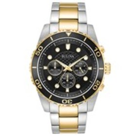 BULOVA Bulova Mens Black Dial Two-Tone Chronograph